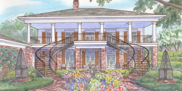 Watercolor home portraits — seeing both sides of the story. . .