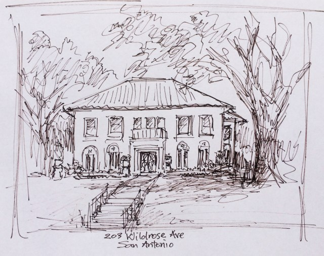Rough preliminary sketch of home on Wildrose Ave, San Antonio by Leisa Collins