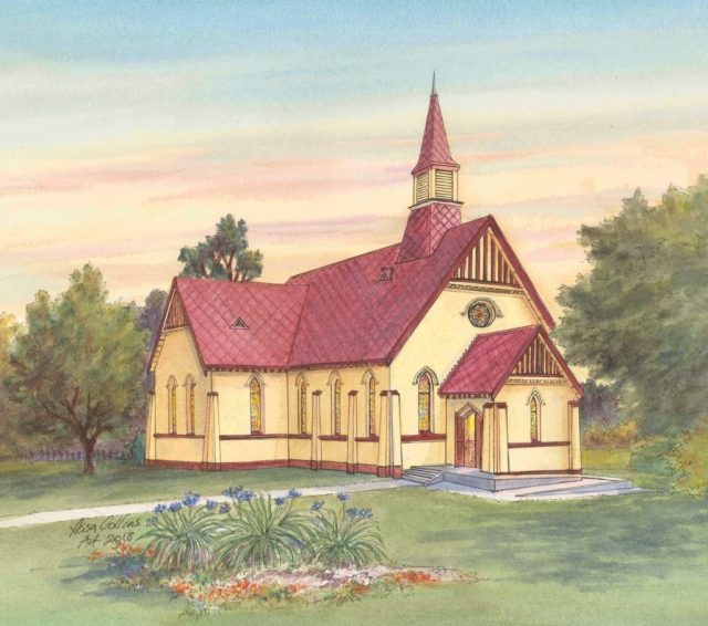 The Leisa Collins original painting of Toko Toru Tapu Church which she awarded to James Blackburne, the first NZ recipient of the Leisa Collins Historic Preservation Award