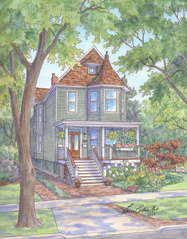 Gorgeous Victorian home portrait on N. Tripp Ave, Portage Park, Chicago IL