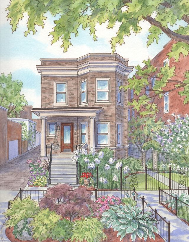 Edwardian in Lincoln Park, Chicago with vibrant garden