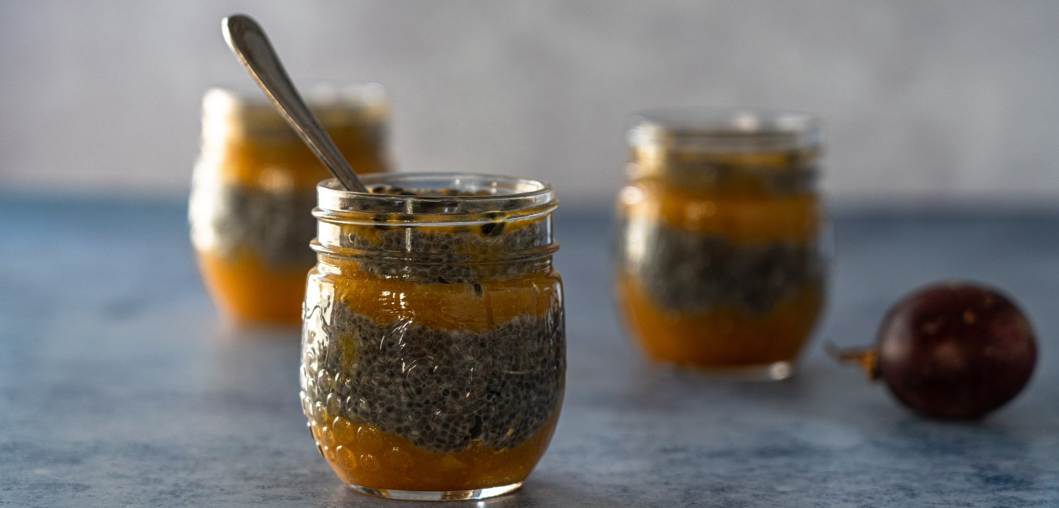 Chia Pudding with Peach and Passion Fruit Compote