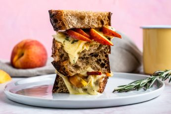 Peach, brie and rosemary grilled cheese stack.