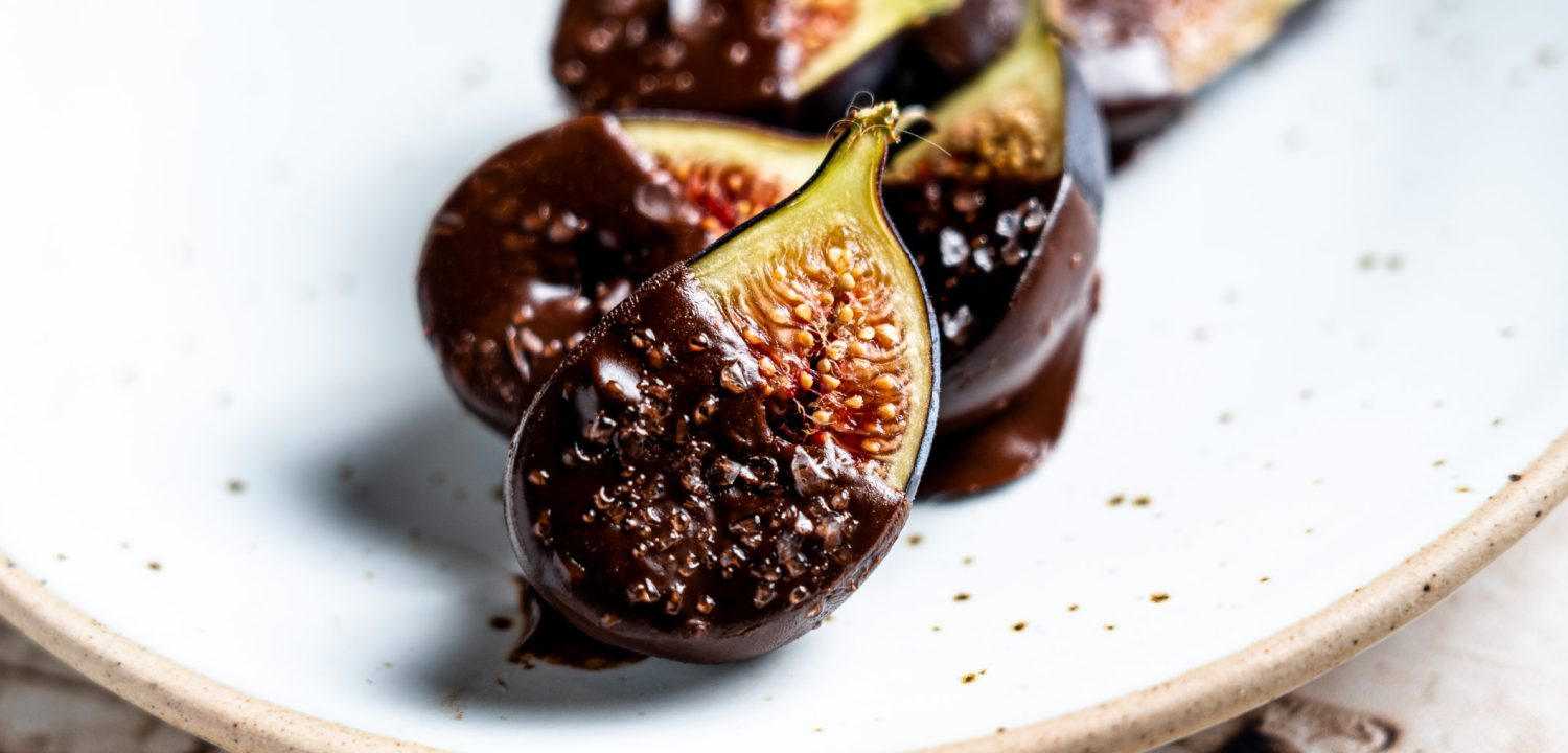 Zoomed in header shot of chocolate covered figs.