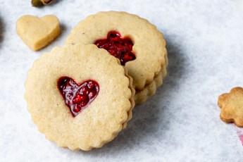 Header shot of raspberry rose Linzer Cookies.