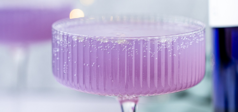 Header shot of lychee gin cocktail.