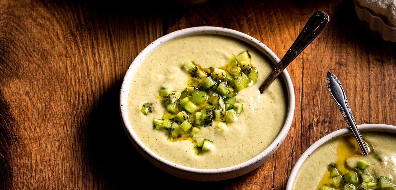 A header shot of a bowl of vegan green gazpacho.