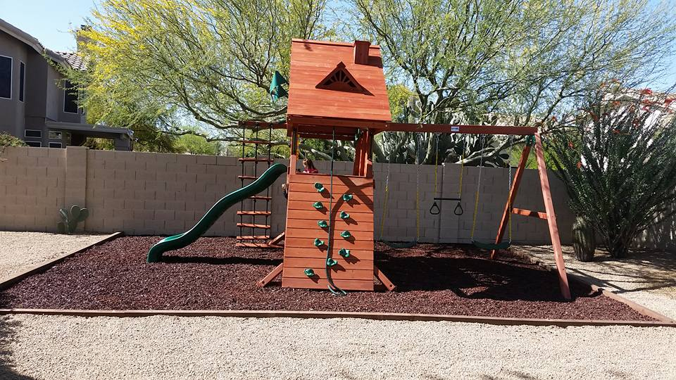 Swing set installed by Leisure Installation