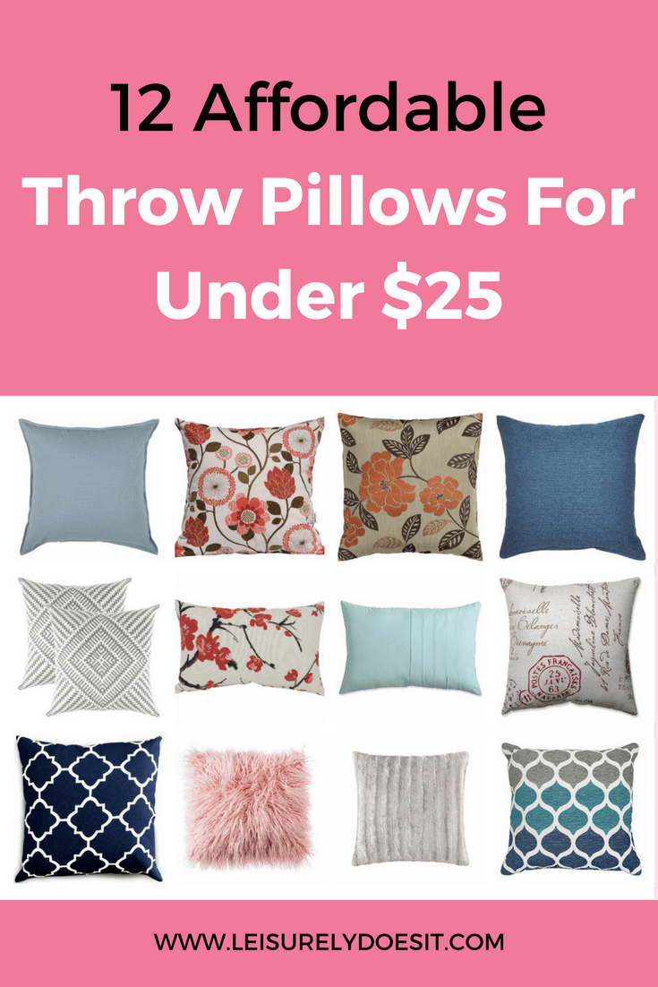 Throw pillows are an easy way to quickly refresh any living space in your home. See this list of twelve affordable cushions that I found for under $25!