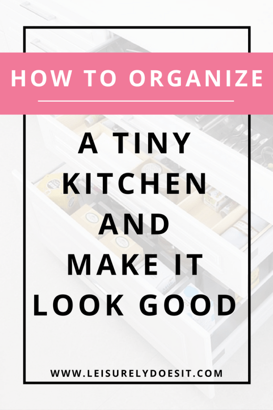 A tiny kitchen can be a pain to organize. Click through for storage solutions that will make the most of your small space while still making it look good. via leisurelydoesit.com