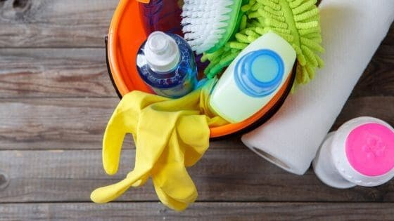 You should group similar items when organizing cleaning supplies.