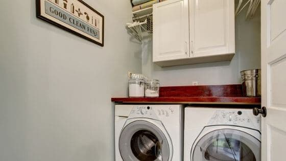 Declutter before moving and make sure your laundry room is tidy for potential home buyers.