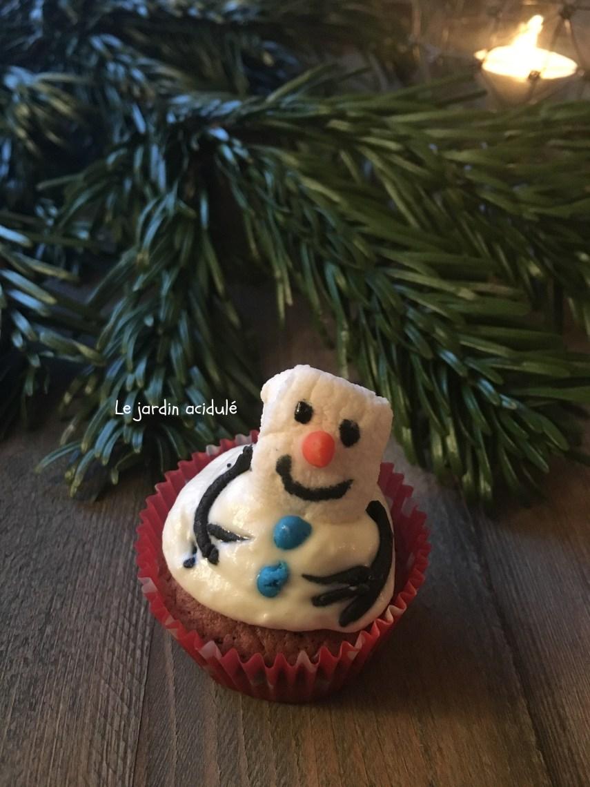 cupcake bonhomme de neige