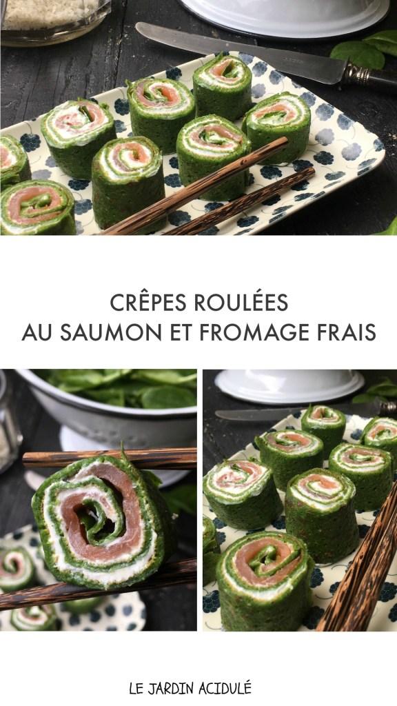 Crêpes roulées au saumon et épinards frais