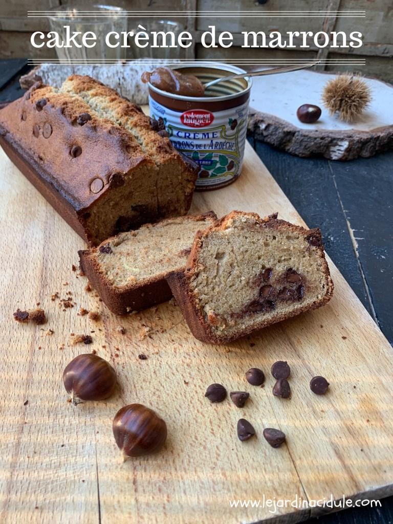 Cake à la crème de marrons et aux pépites de chocolat