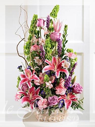 Colorful Condolences Funeral  Sympathy Flower Arrangement  Le Jardin Florist