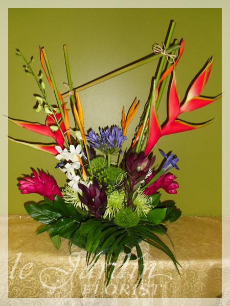 Tropical Asymmetry  a Le Jardin Florist Signature Flower Arrangement