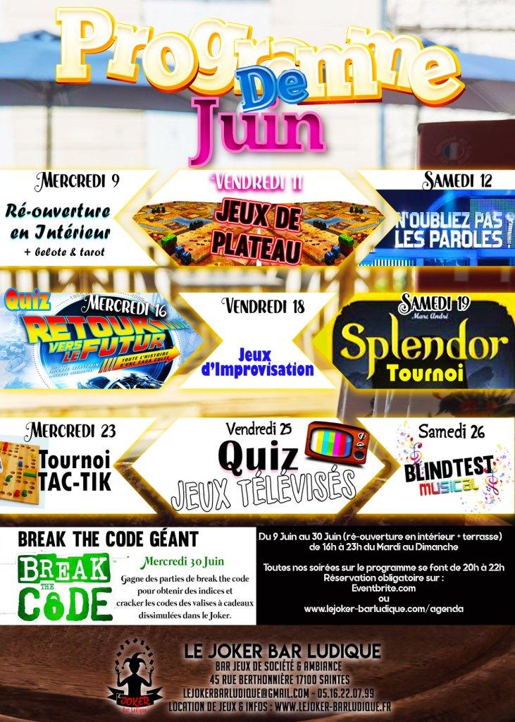 programme juin du joker bar à jeux de société de Saintes