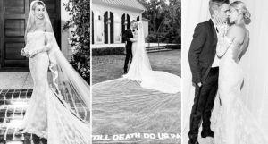 Long sleeve wedding dress, Beiber, wedding inspiration, celebrity wedding