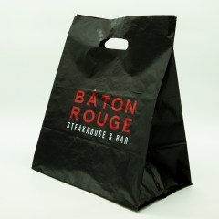 0.07mm high density PE bag with a 2-colour print, expertly executed on a black background