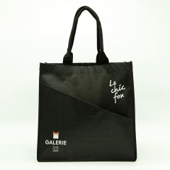 120g non-woven material with a matte lamination and nylon bowler bag style handle
