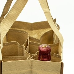 Non-woven reusable bag with a  twist. This bag features a collapsible 6 bottle divider and contrast piping. The cardboard bottom and interior strap that's the same length at the bag creates extra support for heavier items. These bags can carry wine bottles, do regular shopping and more.