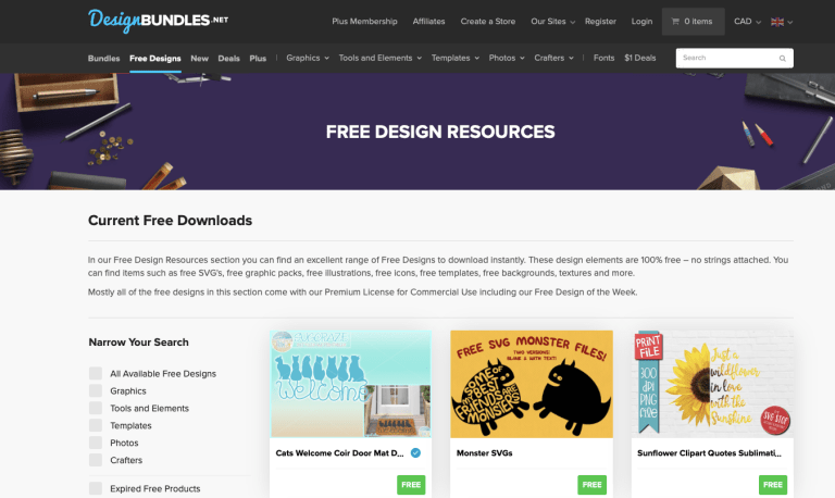 design bundles, a website for free design resources
