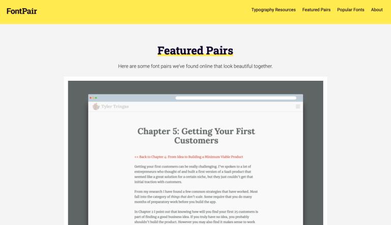 screen capture of great design resources fontpair