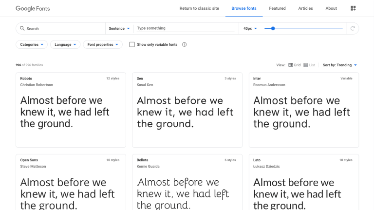 screenshot of google fonts