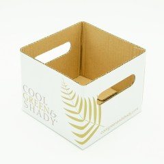 Thick paper open-top basket with diecut handles and oil coating exterior
