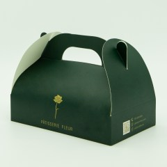 350g white cardboard folding pastry box with gold logo