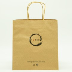120g brown kraft paper with 2-colour print and standard twisted paper handle