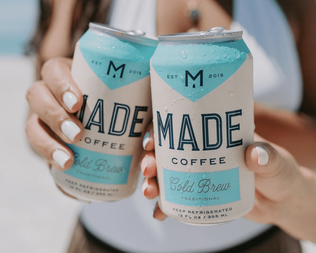 Packaging designs by MADE Coffee's  for their canned cold brew.