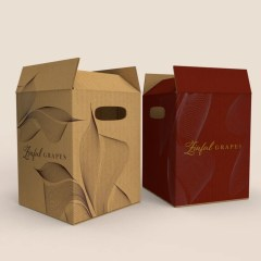 brown Kraft box with one colour logo print and white Kraft box with a full colour print