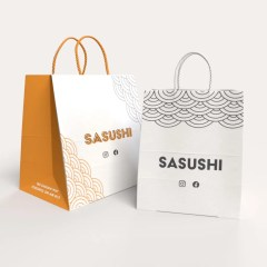 120g white Kraft paper bags with twisted paper handles and minimalistic prints