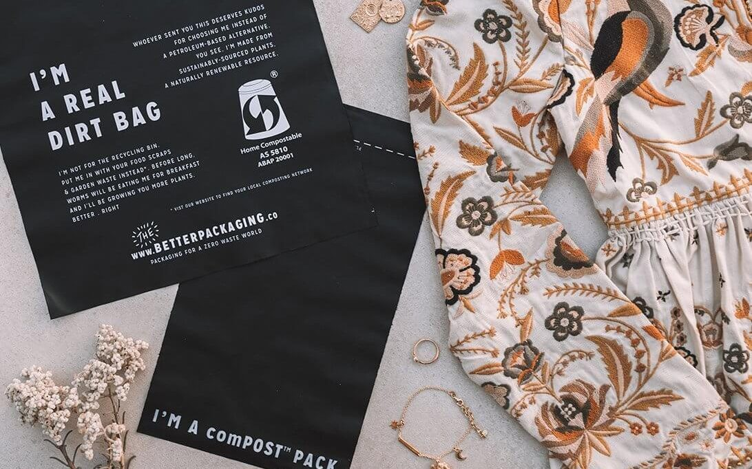 A circular economy can also be achieved by using eco-friendly alternatives such as this compostable mailer.