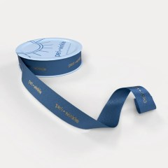 wheel of navy blue ribbon with gold foil logo and a silky finish