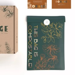 brand shown with compostable mailer bag, brown Kraft mailer box and card inserts with more information on the company