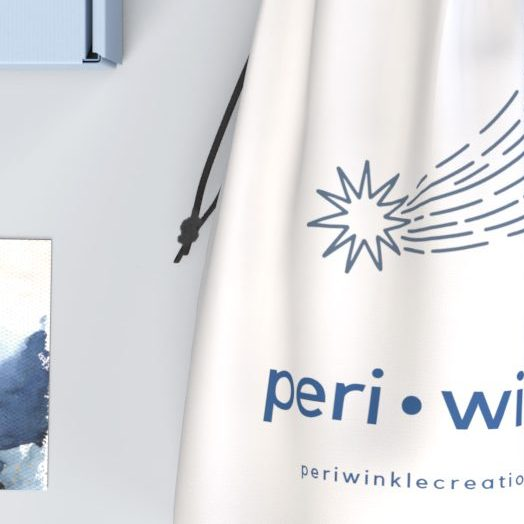 100% cotton drawstring pouch for the e-commerce brand, Periwinkle
