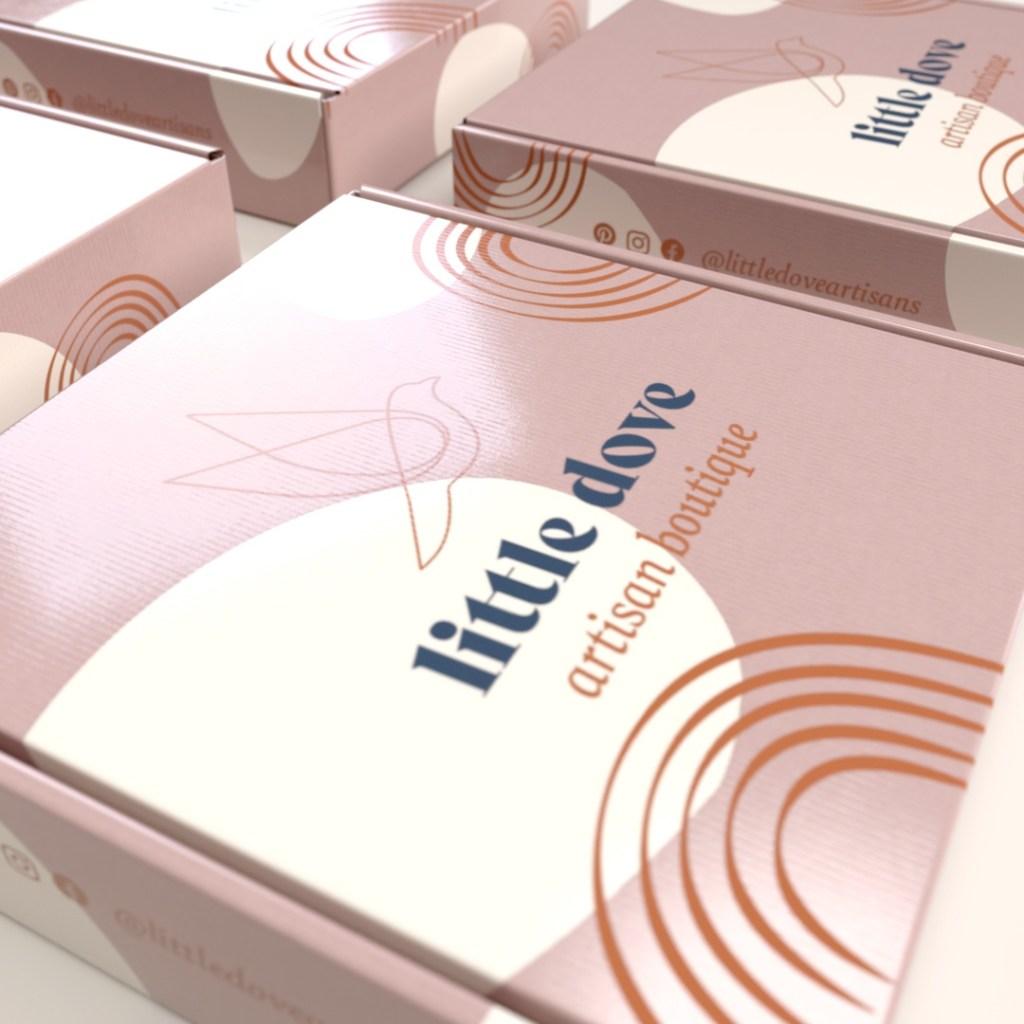 dusty pink mailer box for e-commerce brand, Little Dove