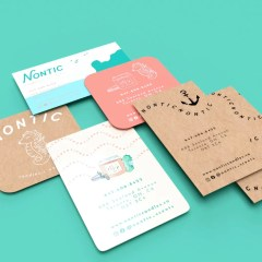 a selection of business cards with different finishings, textures and prints