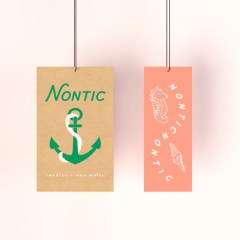two different printing and structure options for hang tags. one shows a brown Kraft base with two colour print, while the other shows a skinnier version with one colour design printed on white Kraft paper