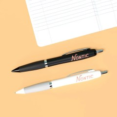 black and white pens shown with a one colour logo print and silicone grip