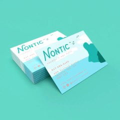 classic, straight cut full print business cards with a matte lamination finishing