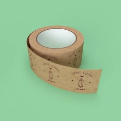 roll of branded brown Kraft paper tape with a one colour logo print