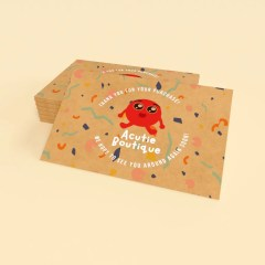 thank you card inserts printed on brown Kraft paper with a full colour print design