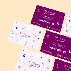 cards printed on white Kraft paper with one colour print designs