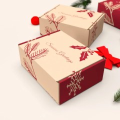 two design options for a classic mailer box in beige and Christmas red