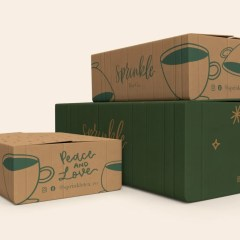 stack of shipping boxes in various sizes with simple 1 colour print for a minimalistic look