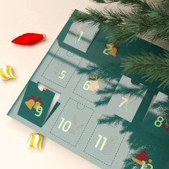 flat structure advent calendar showing 12 perforated windows